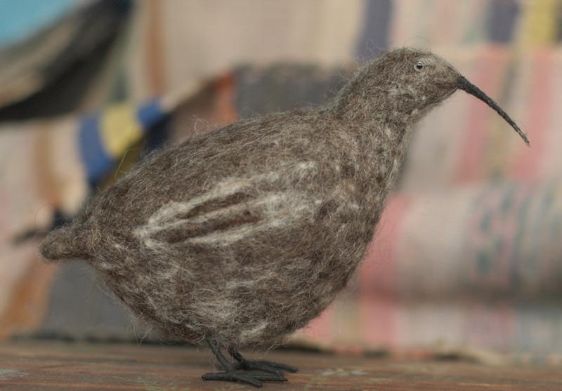 strange needle-felted bird